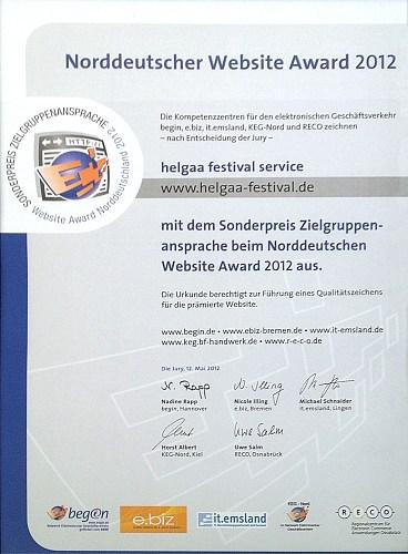 norddeutscher website award urkunde 2012