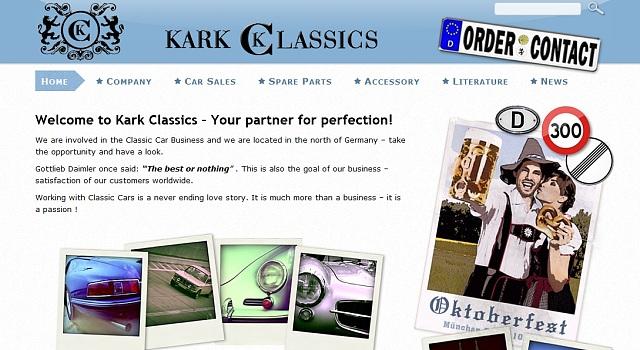 Webdesign für Kark Classics - Classic Car Business