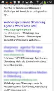 Screenshot Suchergebnisse Webdesign Oldenburg