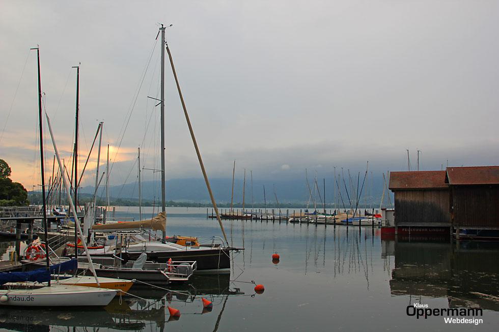 Lindau Bodensee Boote Hafen Segelboote Sonnenaufgang