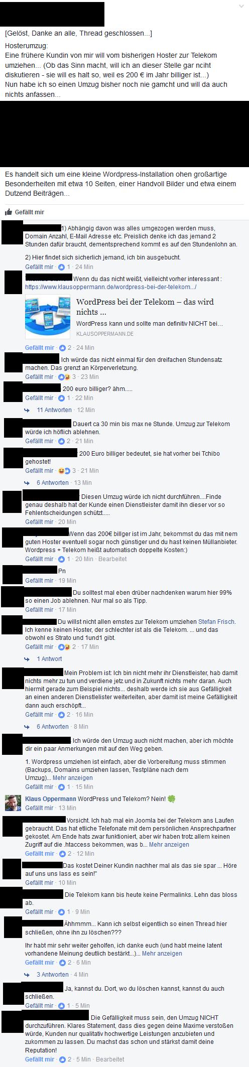 Facebook-Thread WordPress bei der Telekom