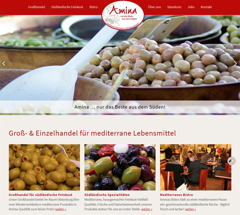 Amina Feinkost Oldenburg Webdesign Lebensmittelhandel