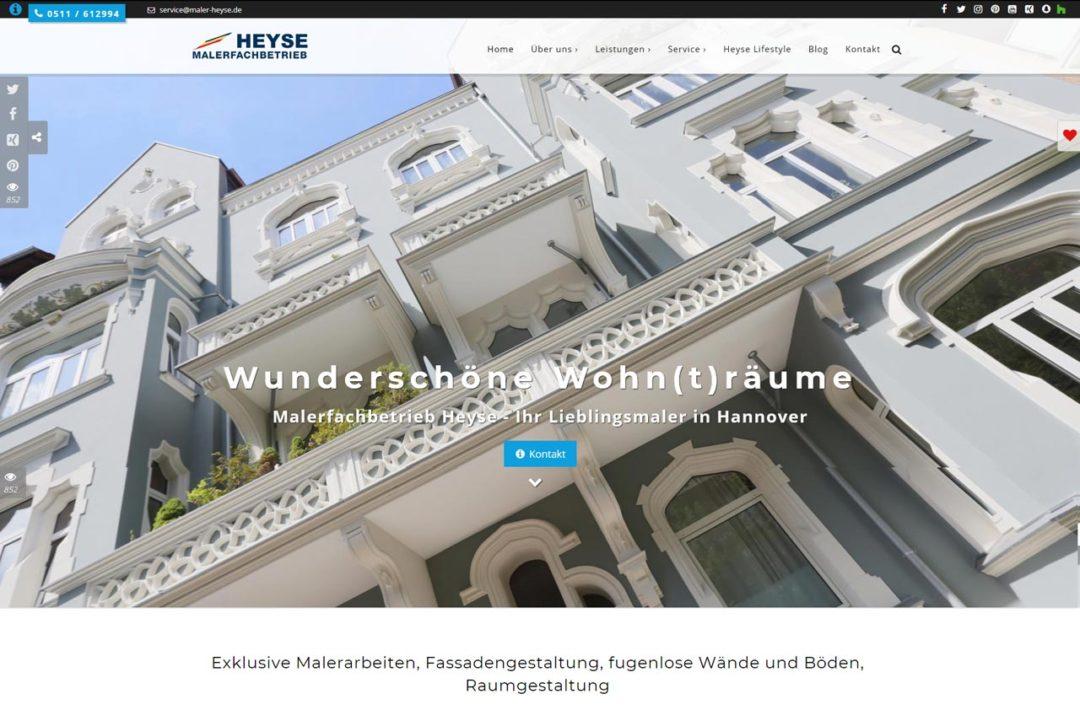 Screenshot Malerfachbetrieb Heyse Hannover Webdesign 2