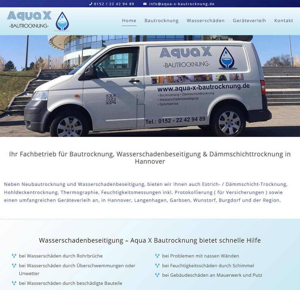 Aqua X Bautrocknung Hannover Webdesign WordPress