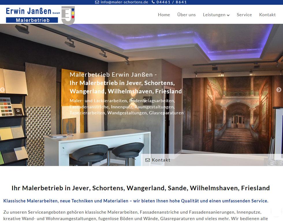 Malerbetrieb Schortens Wilhelmshaven Maler Webdesign