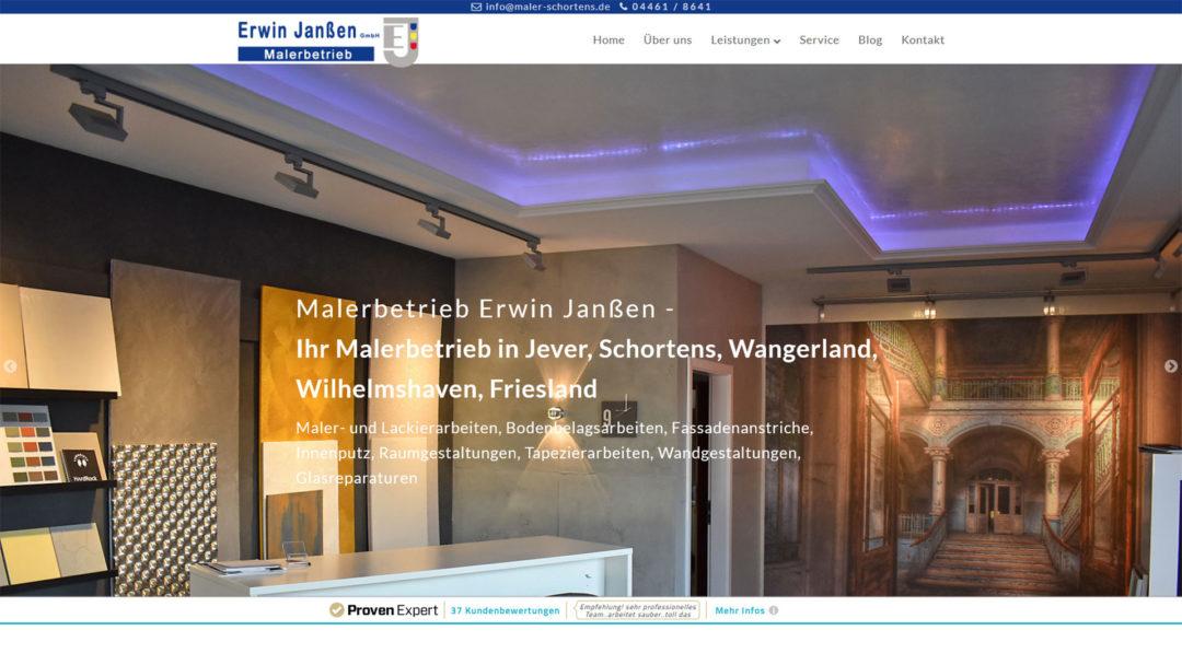 Malerbetrieb Erwin Janssen Schortens Wilhelmshaven Webdesign