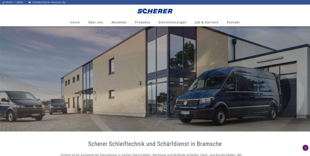 Webdesign Scherer Schleiftechnik und Schaerfdienst in Bramsche