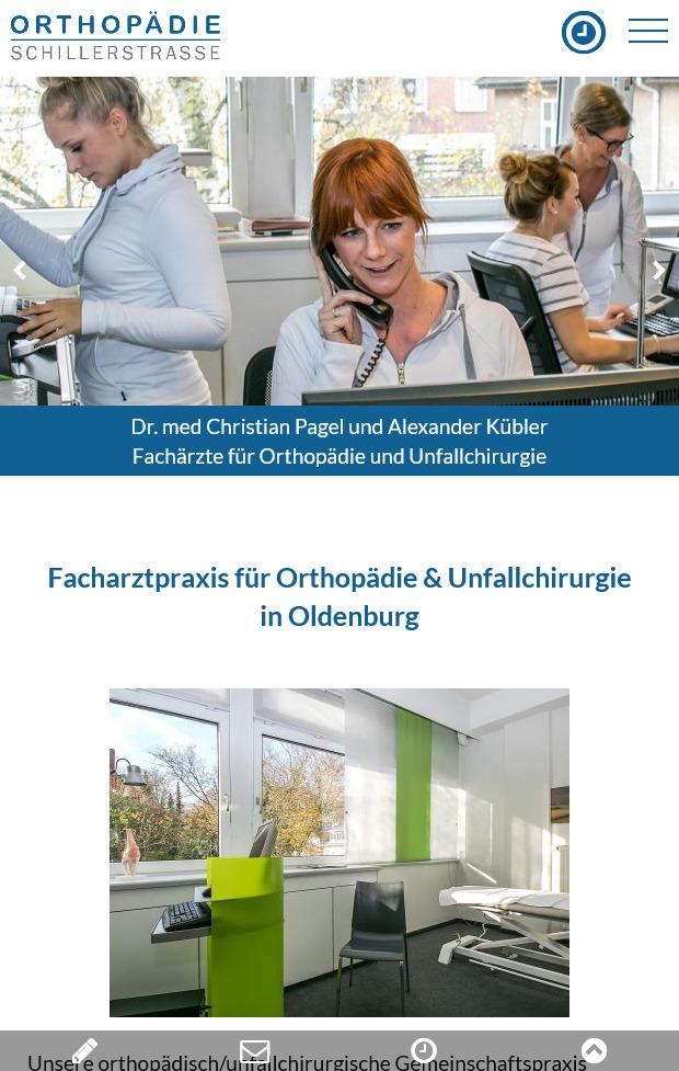 Webdesign Facharztpraxis fuer Orthopaedie in Oldenburg Smartphone