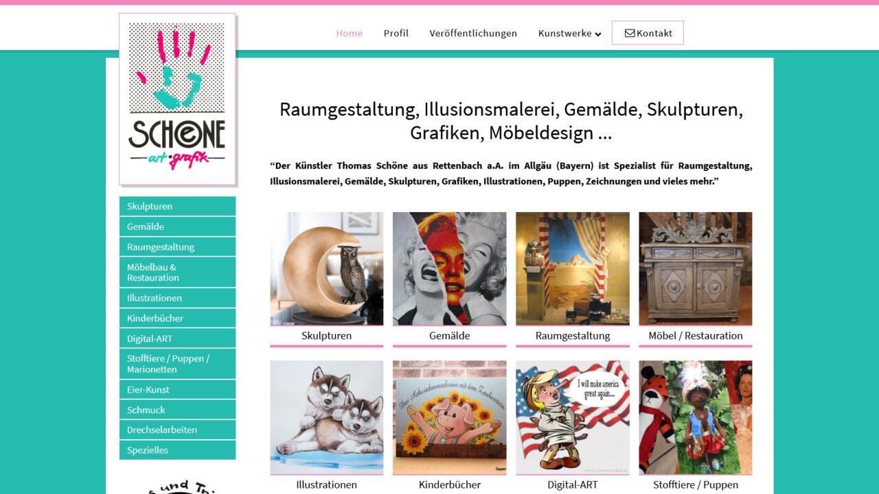 Webdesign Kuenstler Thomas Schoene Skulpturen Raumgestaltung Malerei Illusionsmalerei