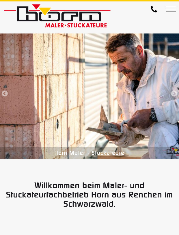 Webdsign Maler Stuckateurfachbetrieb Horn Renchen Schwarzwald Tablet